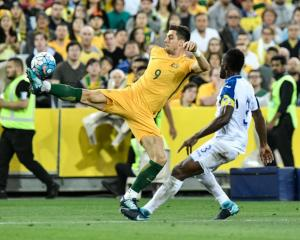 Australia's Tomi Juric looks to control the ball in the World Cup qualifier against Honduras....