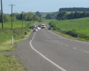 One person was killed and four injured in a crash north of Oamaru. Photo: Hamish MacLean