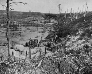 On the western battle front: the devastated countryside, showing the effects of modern artillery...