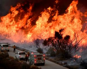 Crews attack the Thomas Fire's north flank with backfires north of Los Angeles, near Ojai,...