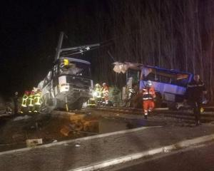 Rescue workers at the scene of the crash in Millas, France. Photo: France Bleu Roussillon/Handout...
