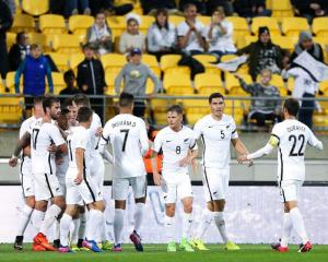 The All Whites celebrate a goal during their qualifying win over Fiji. Photo: Reuters