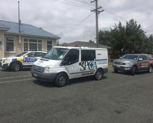 SPCA animal rescue vehicle outside Ohai Police Station. Photo: NZ Police