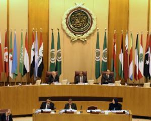 Arab League Secretary-General Ahmed Aboul Gheit speaks during Arab League foreign ministers...