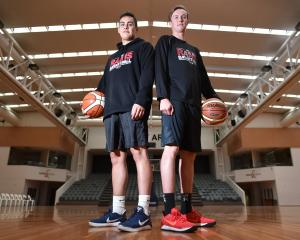 Dunedin basketball players Richie Rodger (20) and Josh Aitcheson (19) at the Edgar Centre this...
