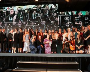 The Black Ferns after winning the team of the year award at last night's NZ Rugby Awards. Photo:...