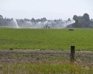 Travelling irrigator on the Waitaki Plains. Photo: File.