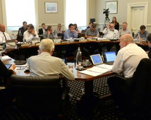 Dunedin city councillors and staff discuss the city's draft 10-year plan. PHOTO: LINDA ROBERTSON
