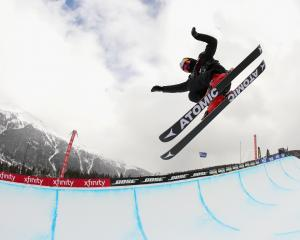 New Zealander Nico Porteous competes in a qualifying round of the FIS freeski world cup men's...