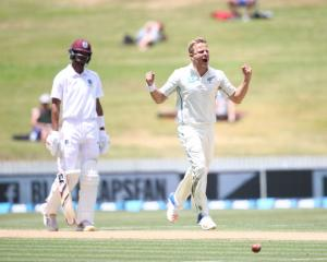 New Zealand's Neil Wagner celebrates taking the wicket of West Indies' Shane Dowrich. Photo Getty