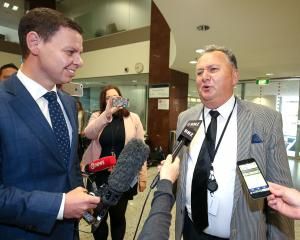 MP Shane Jones speaks to journalist Patrick Gower prior to a NZ First caucus and board meeting at...