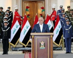 "Iraqi Prime Minister Haider al-Abadi delivers a speech in Baghdad. Photo"" Reuters"