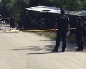 Mexico tourist bus crash. Photo: Twitter/ CNN