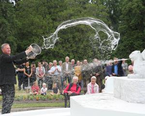 Waitaki Mayor Gary Kircher officially reopens the Craig Fountain in the Oamaru Public Gardens...