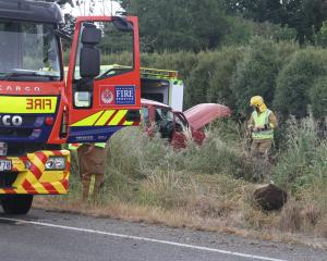 Emergency services attended a two vehicle crash south of Oamaru this morning. Photo: John Cosgrove