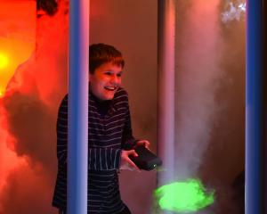 Exploring the new tornado interactive display at the Tuhura Otago Community Trust Science Centre...