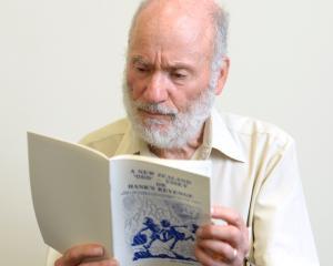 Associate Prof Peter Schwartz with his book, A NZ Odd-yssey or Hank's Revenge. Photo: Linda...
