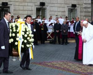 Pope Francis leads the Immaculate Conception celebration prayer in Piazza di Spagna in downtown...