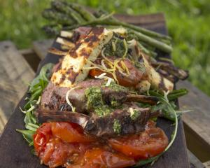 Rack of Lamb with Grilled Haloumi and Asparagus. Photo: Sally Greer