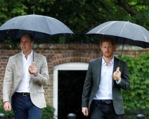 Britain's Prince William, Duke of Cambridge and Prince Harry visit the White Garden in Kensington...