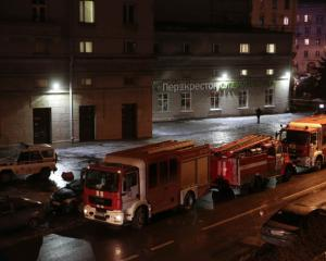 Vehicles of emergency services are parked near a supermarket after an explosion in St Petersburg....