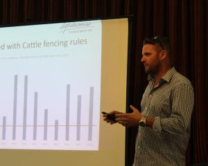 Agribusiness farm management consultant Deane Carson talks at a meeting at Hedgehope last week...