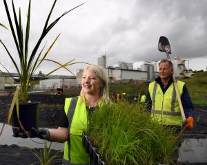 Fonterra Stirling site environmental manager Hannah Furze and Dave Sharp from Conservation...