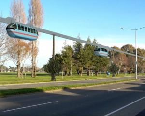 A futuristic vision of how public transport could look in Tauranga. Image: NZ Herald/ SkyCabs