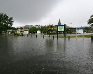 Flooding at Caroline Bay, Timaru. Photo: Alexia Johnston
