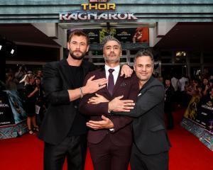 Chris Hemsworth (from left), Taika Waititi and Mark Ruffalo attend the Thor: Ragnarok Sydney...