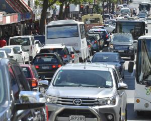 Congested traffic fills George St in central Dunedin yesterday. PHOTO: GERARD O'BRIEN