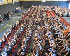 Taieri College principal David Hunter addresses pupils, parents, grandparents and friends at the...
