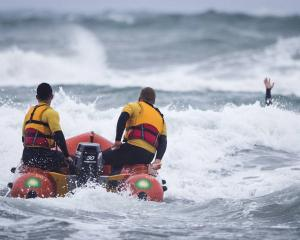Surf Life Saving Northern Region volunteers in training at Auckland's Muriwai Beach. Volunteers...