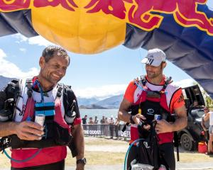 Richie McCaw (R) and Bob McLachlan after day one at Red Bull Defiance in Wanaka. Photo: Reuters