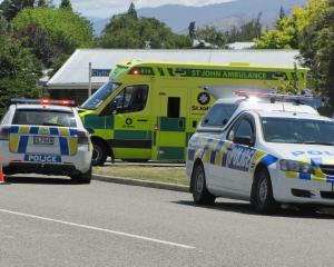 Emergency services attend a crash at the intersection of Clutha and Ventry Sts, in Alexandra....