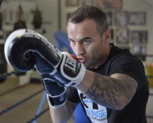 Australian middleweight Tommy Browne does some shadow boxing at Fight and Fitness gym in Dunedin...