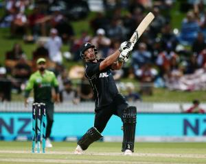 Colin de Grandhomme in action for New Zealand against Pakistan in the fourth one-day...