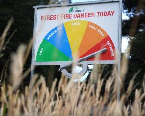 The fire danger message on Three Mile Hill Rd yesterday. PHOTO: CHRISTINE O'CONNOR