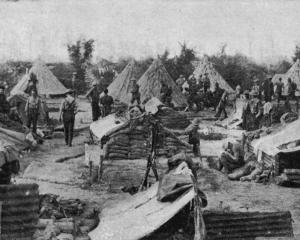The New Zealand Rifles in their camp near the front lines (an official government photo). - Otago...
