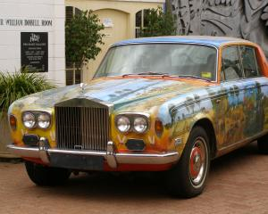 This Roll Royce painted by Pro Hart is displayed at the Pro Hart Gallery at Broken Hill, New...