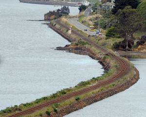The railway line between St Leonards and Roseneath and where a harbourside cycleway might go....