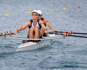 Otago Boys High Schools rowers Ben Mason and Thomas Ryan on their way to winning the men's under...