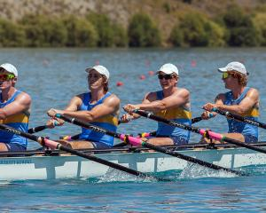 The Otago University Rowing Club's coxless quadruple sculls crew of Dylan Davis, Aaron Roydhouse,...