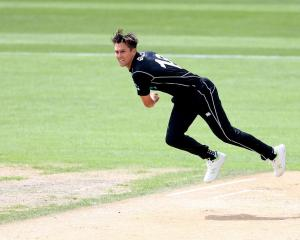 Trent Boult bowls for New Zealand against Pakistan in the Dunedin one-day international. Photo:...