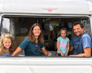 German freedom campers (from left) Antonia (8) and Anke Roser, Elisa Bauer (5) and Jochen Roser...