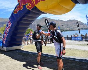 The winning team in the two-day Red Bull Defiance race,  Dougal Allan (left)  and Braden Currie,...