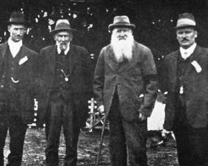 Officials at the Waitahuna A. and P. Society's summer show. From left: Mr Duncan McDonald ...