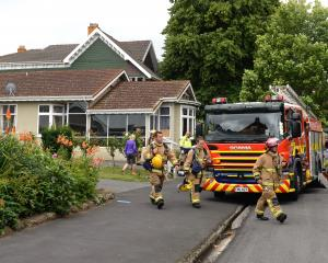 Fire and Emergency New Zealand units attend a fire at the Woodhaugh Hospital and Rest Home in...