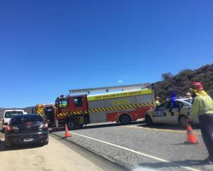 Emergency services at the scene of the crash. Photo: Pam Jones