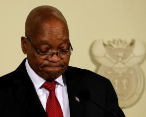 South Africa's President Jacob Zuma announces his resignation at the Union Buildings in Pretoria....